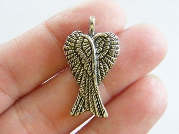 8 Pair of angel wing pendants antique silver tone AW28