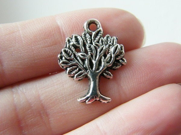 8 Tree charms antique silver tone T1