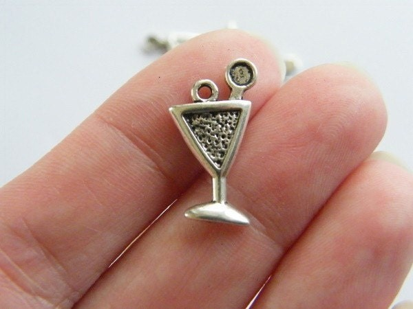 10 Martini charms antique silver tone FD40