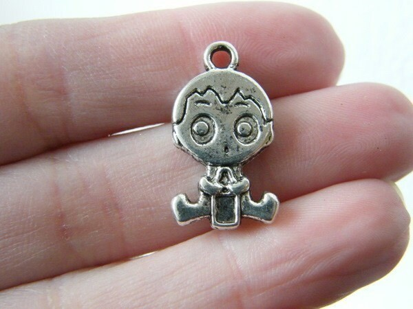 6 Baby boy charms antique silver tone BS9