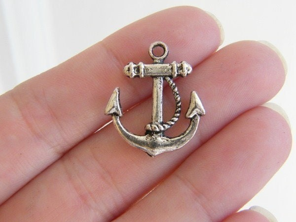 6 Anchor pendants antique silver tone AN10