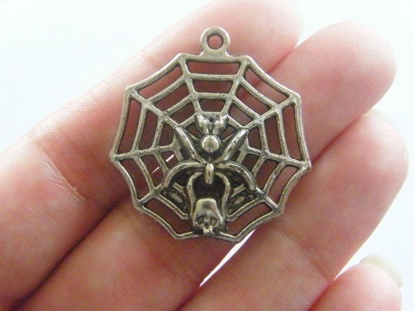 3 Huge spider in a spider web pendants antique silver tone HC127