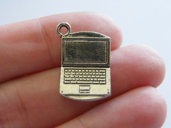 BULK 30 Laptop charms antique silver tone PT19
