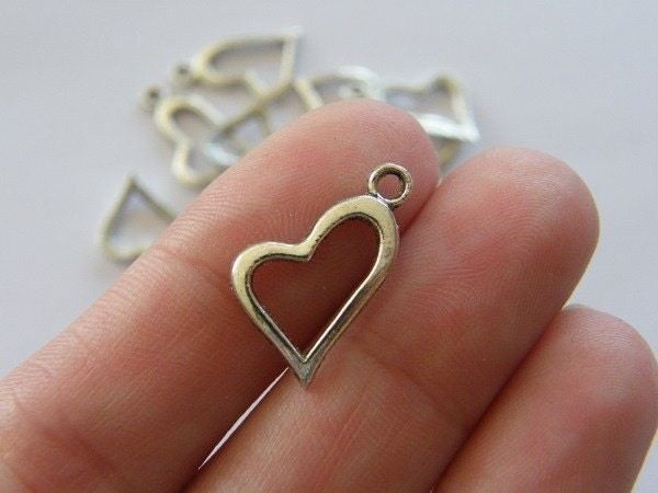 14 Heart charms antique silver tone H48