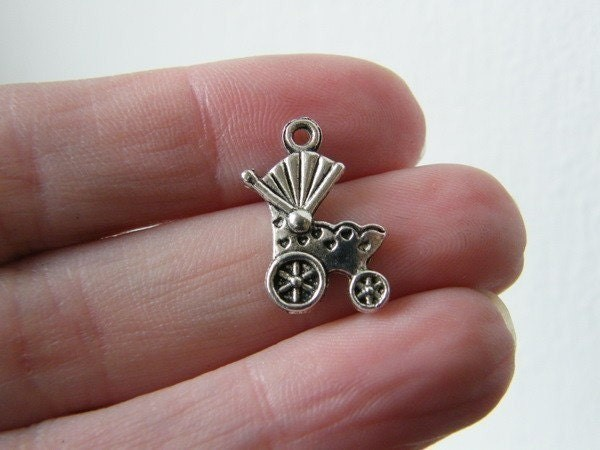 BULK 50 Baby pram or carriage charms antique silver tone BS16