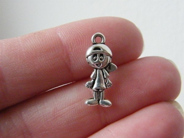 12 Boy charms antique silver tone P88