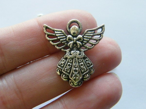 BULK 50 Angel charms antique silver tone AW66