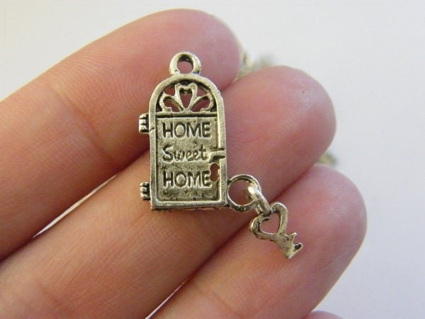 BULK 30 Door and key charms antique silver tone P38 - SALE 50% OFF