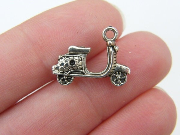 8 Scooter charms antique silver tone TT71