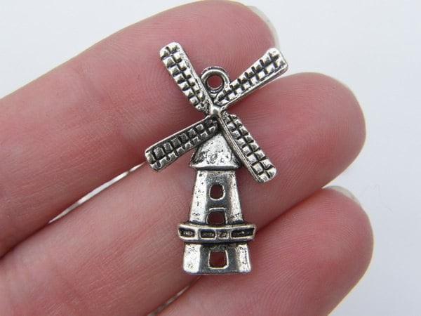 6 Windmill charms antique silver tone WT81