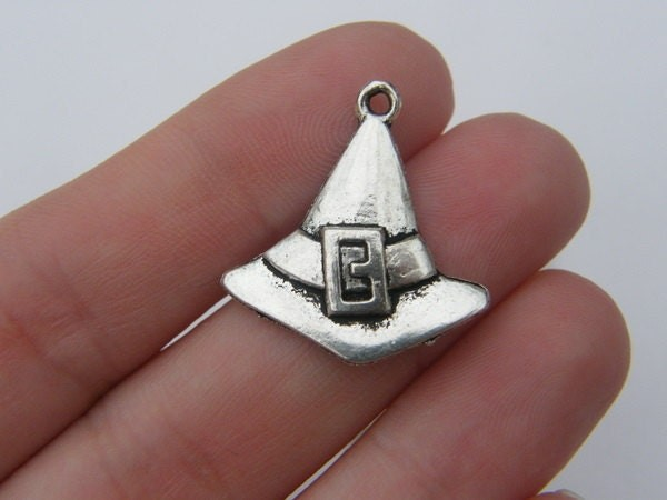 6 Witch hat charms tibetan silver HC104