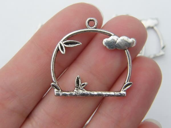 8 Bird perch pendants antique silver tone B44