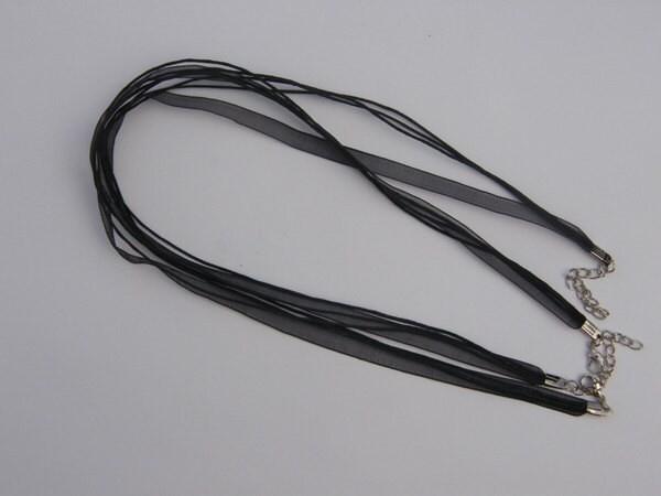 5 Black ribbon voile necklace cords 46cm 18""