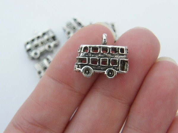 6 Bus charms antique silver tone WT54