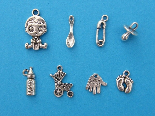 The Baby Boy  Collection - 8 different antique silver tone charms