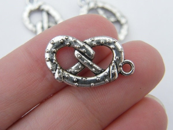 BULK 40 Pretzel charms antique silver tone FD154