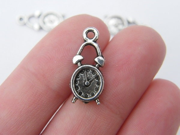 12 Alarm clock charms antique silver tone P185