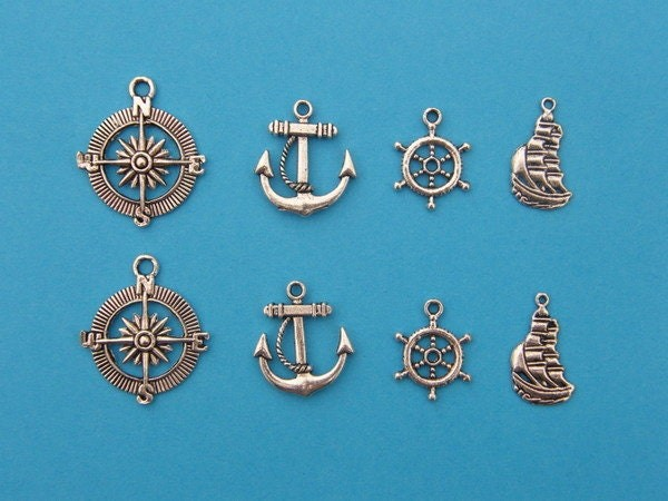 The Nautical Collection - 8 antique silver tone charms