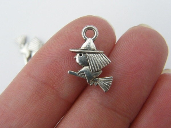 BULK 50 Witch charms antique silver tone HC105