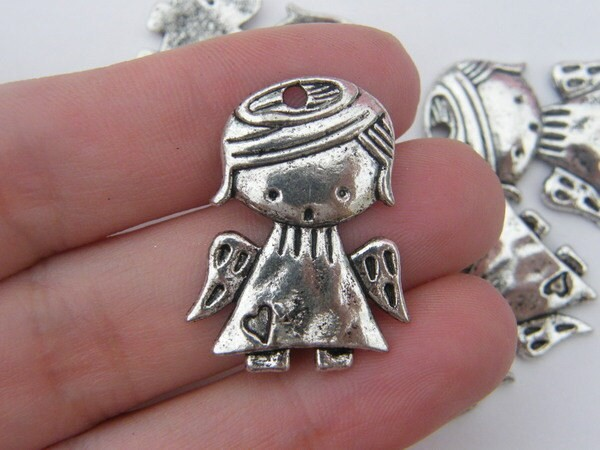 4 Angel charms antique silver tone AW78