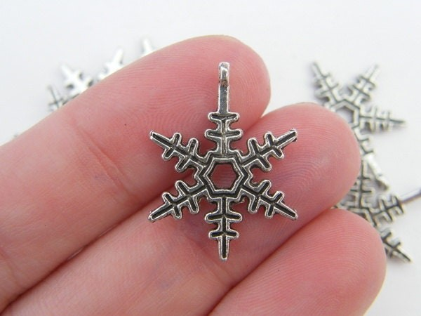 BULK 50  Snowflake charms  antique silver tone SF8