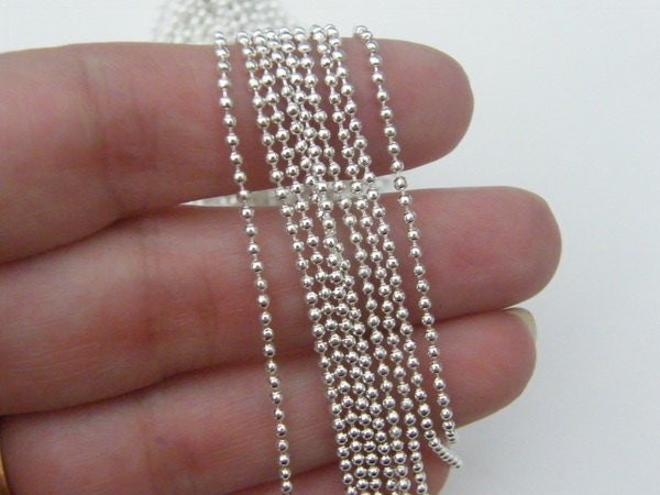 10m Ball chain 1.5mm silver plated
