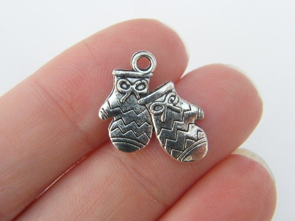 BULK 50 Pair of mittens charms antique silver tone CA147
