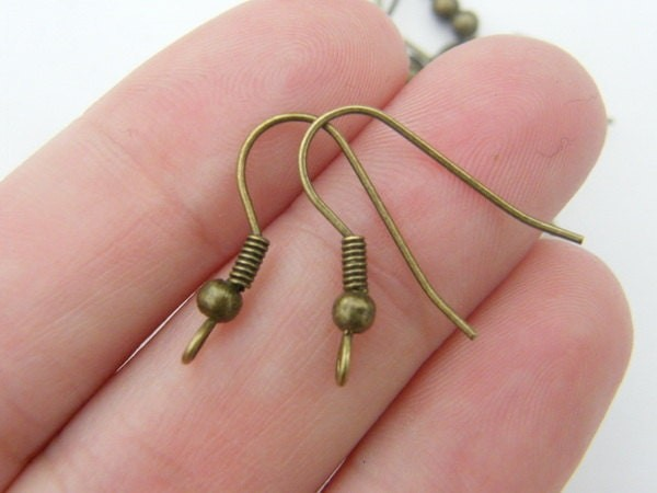 50 Earring hooks 21mm with ball and wire antique bronze tone