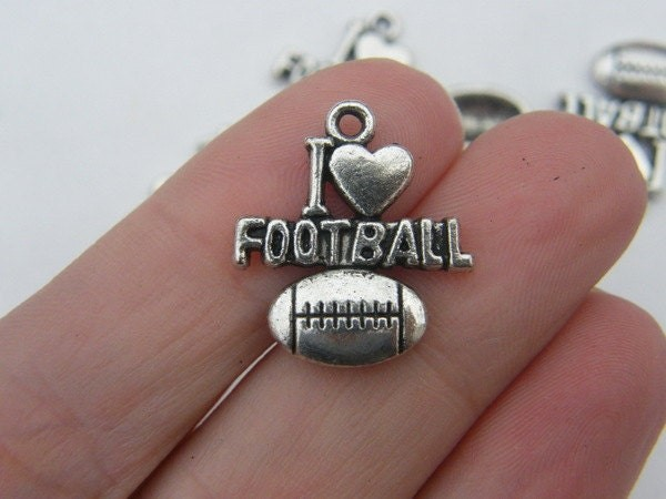 6 I love football pendants antique silver tone SP18