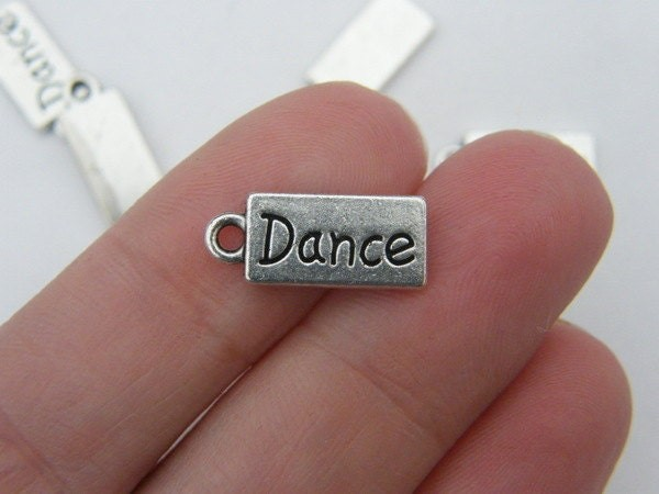 10 Dance charms antique silver tone FB42