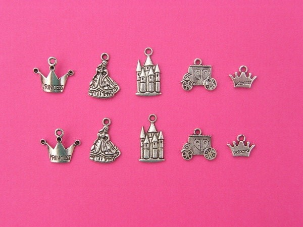 The Princess Collection - 10 antique silver tone charms