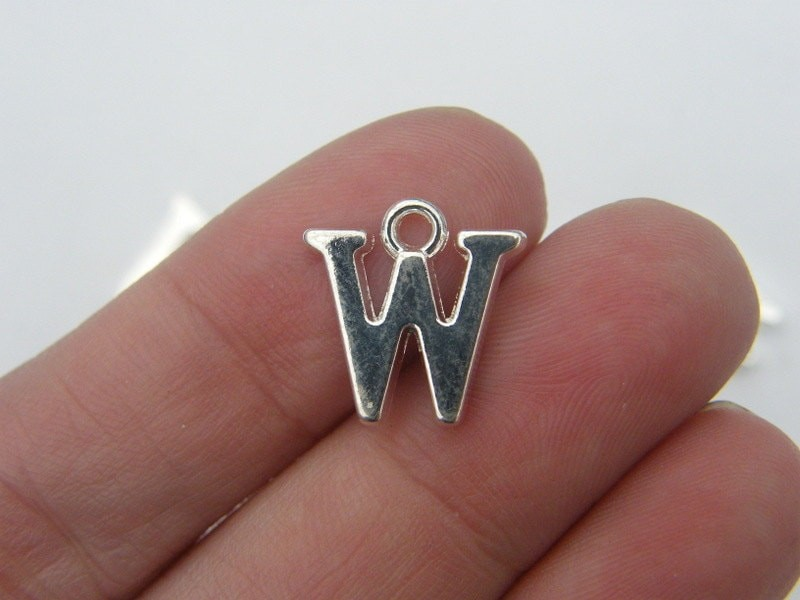 BULK 30 Letter W alphabet charms silver plated