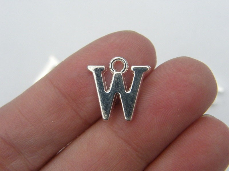 8 Letter W alphabet charms silver plated