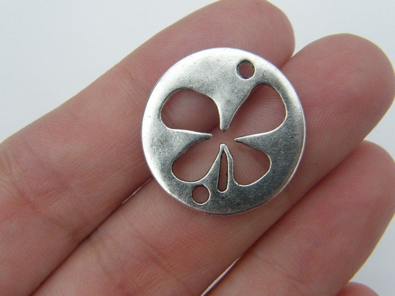 5 Four leaf clover connector charms antique silver tone L46