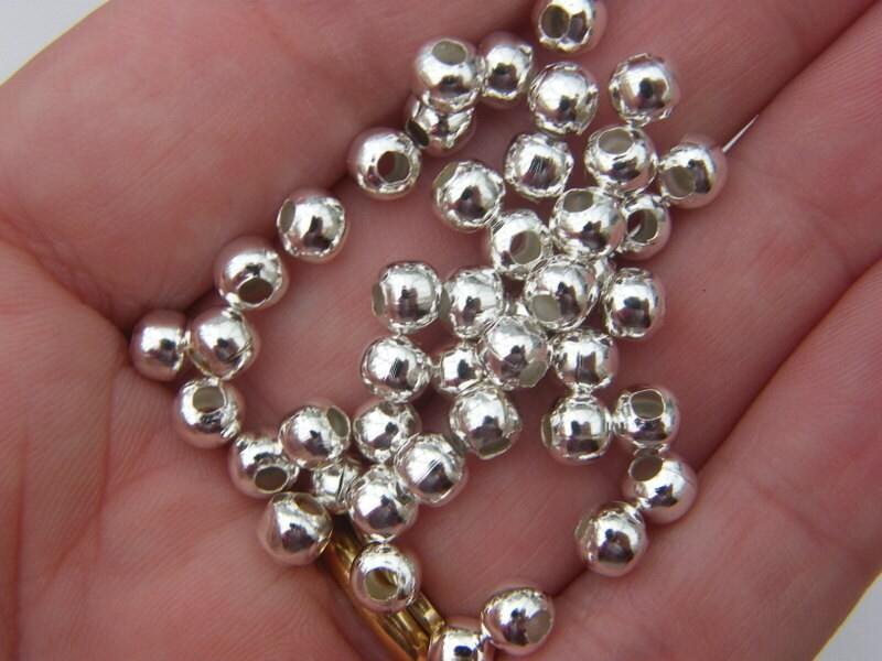BULK 300 Spacer beads 5mm silver plated