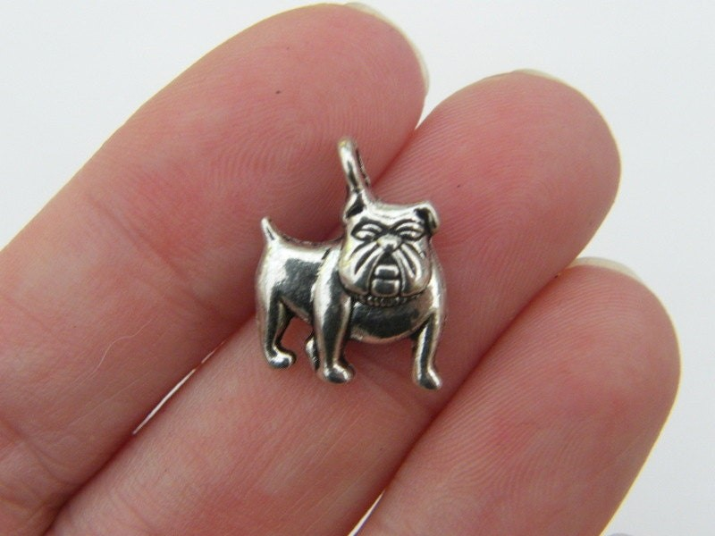 10 Bulldog charms antique silver tone D21