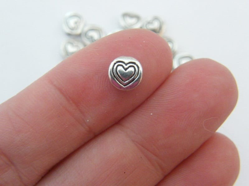 30 Heart spacer beads antique silver tone H72