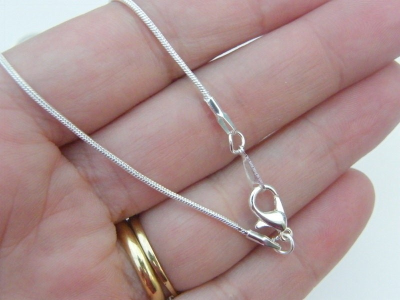 """1 Snake chain necklace 46cm or 18"""" silver plated"""