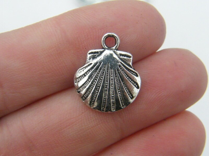 BULK 50 Shell charms antique silver tone FF159