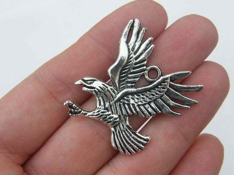 4 Eagle pendants antique silver tone B61