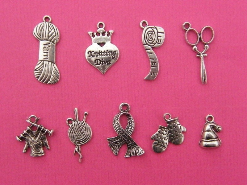 The Knitting Collection - 9 different antique silver tone charms