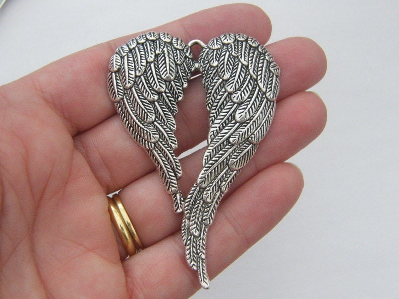 BULK 5 Angel wings pendant antique silver tone AW38