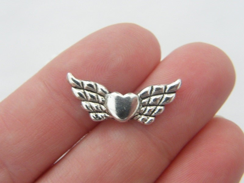 BULK 50 Angel wing spacer beads antique silver tone AW46