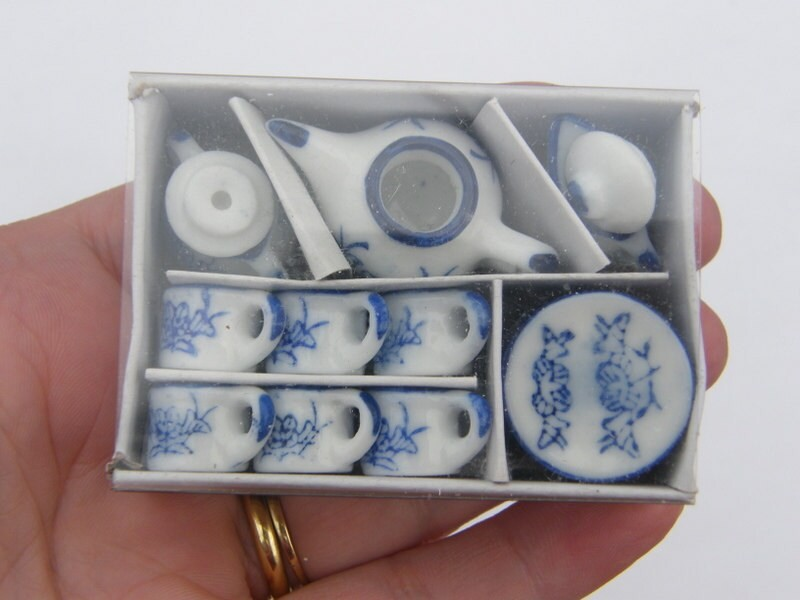 1 Blue and off white porcelain tea set
