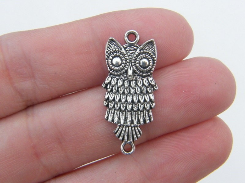 5 Owl connector charms antique silver tone B285