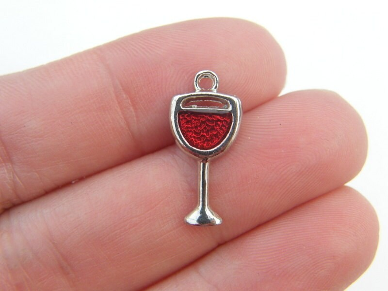 4 Wine glass charms with red enamel silver tone FD10
