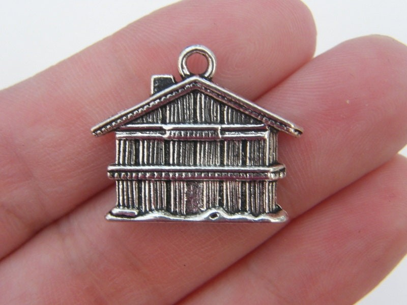 2 House charms antique silver tone P57