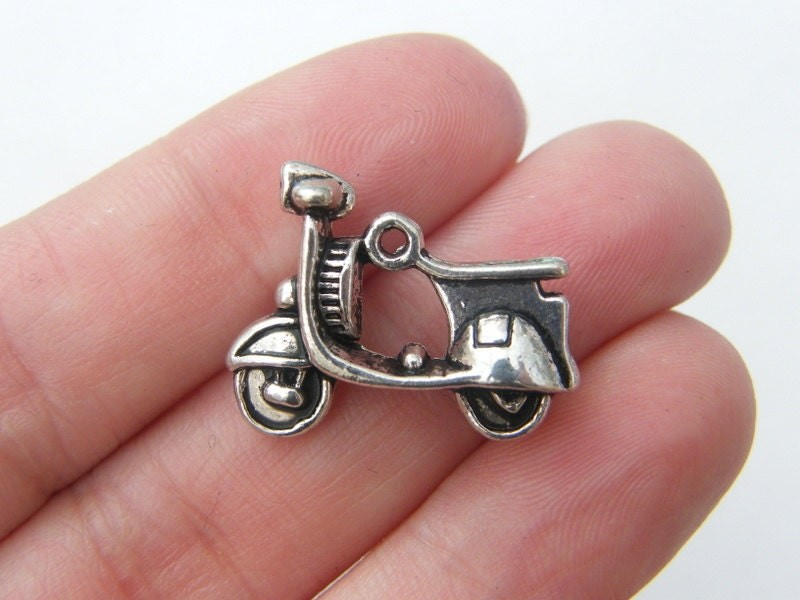 BULK 30 Scooter charms antique silver tone TT72