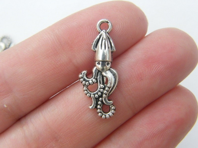 BULK 50 Squid charms antique silver tone FF108