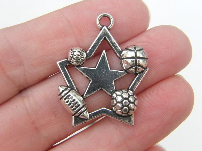 4 Sports star ball pendants antique silver tone SP164